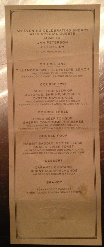 Woodsman Tavern sherry dinner menu