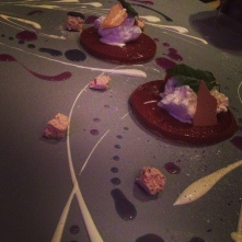 dessert painted on the table at Alinea, Chicago